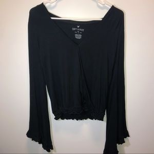 Aeo Soft & Sexy Black Long Bell Sleeve Wrap Blouse